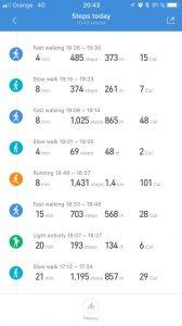 MiFit aplikacia pohlad na aktivity