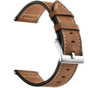 Kožený remienok pre Xiaomi Amazfit Bip, Bip Lite, GTR 42 mm, GTS Tmavohnedý