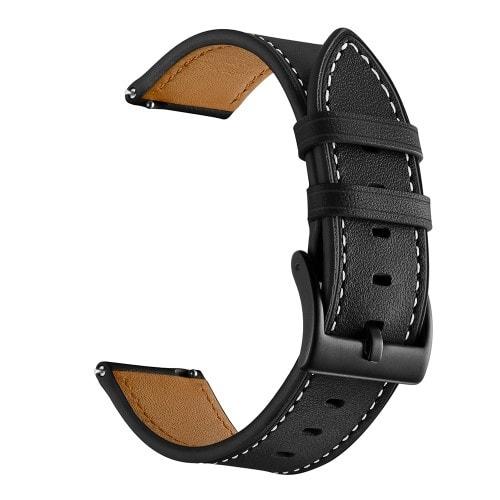 Kožený remienok pre Xiaomi Amazfit Bip, Bip Lite, GTR 42 mm, GTS Čierny