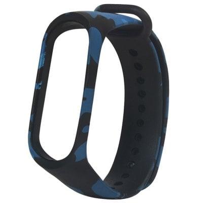 Náhradný silikónový a vodeodolný remienok pre Xiaomi Mi Band 3 maskáčový modrý
