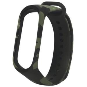 Náhradný silikónový a vodeodolný remienok pre Xiaomi Mi Band 3 maskáčový zelený