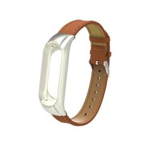 Kožený remienok pre Xiaomi Mi Band 3 Hnedý