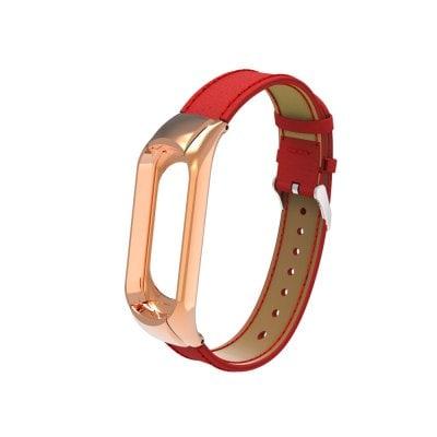 Kožený remienok pre Xiaomi Mi Band 3 Červený