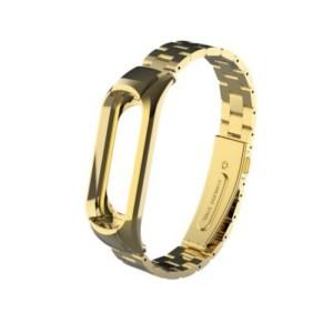 Elegantný oceľový remienok pre Mi Band 3 Zlatý
