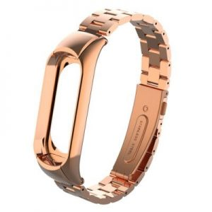 Elegantný oceľový remienok pre Mi Band 3 Rúžovo zlatý