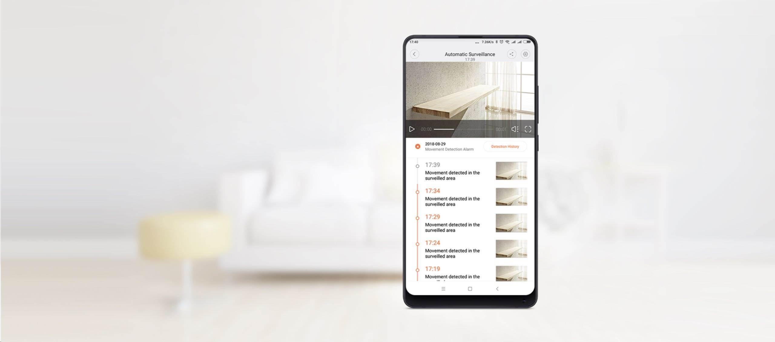 Xiaomi kamera detekcia pohyby notifikacia