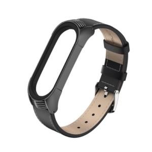 Elegantný kožený remienok pre Xiaomi Mi Band 4 Čierny