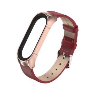 Elegantný kožený remienok pre Xiaomi Mi Band 4 Červený