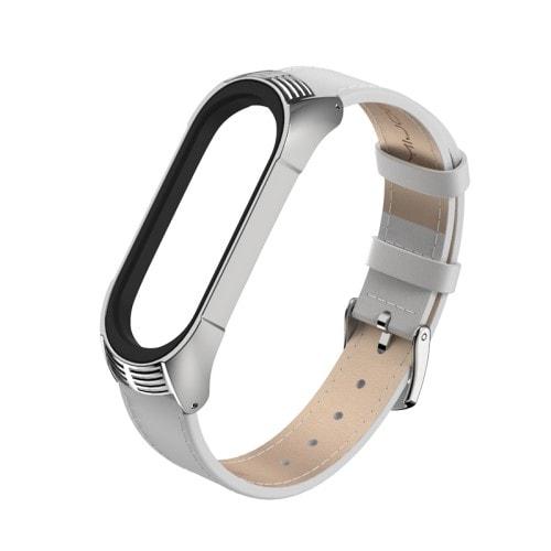 Elegantný kožený remienok pre Xiaomi Mi Band 4 Biely