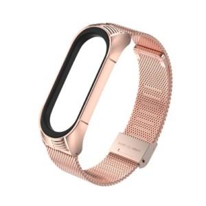 Luxusný kovový remienok pre Xiaomi Mi Band 4 Rúžovo zlatý