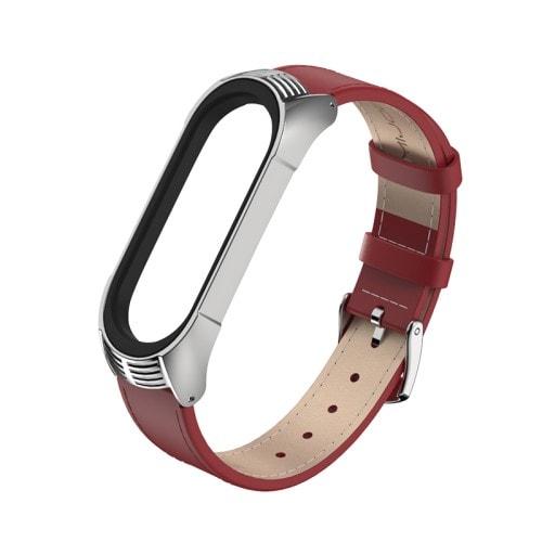 Kožený remienok pre Xiaomi Mi Band 4 ČervenoStrieborný